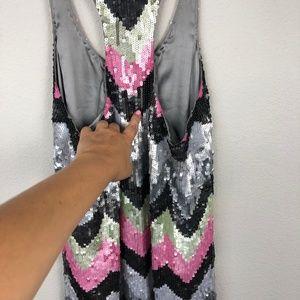 Parker Dresses - PARKER Zig Zag Sequin Racerback Dress